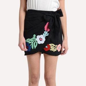 J. Marie Marta embroidered wrap mini skirt